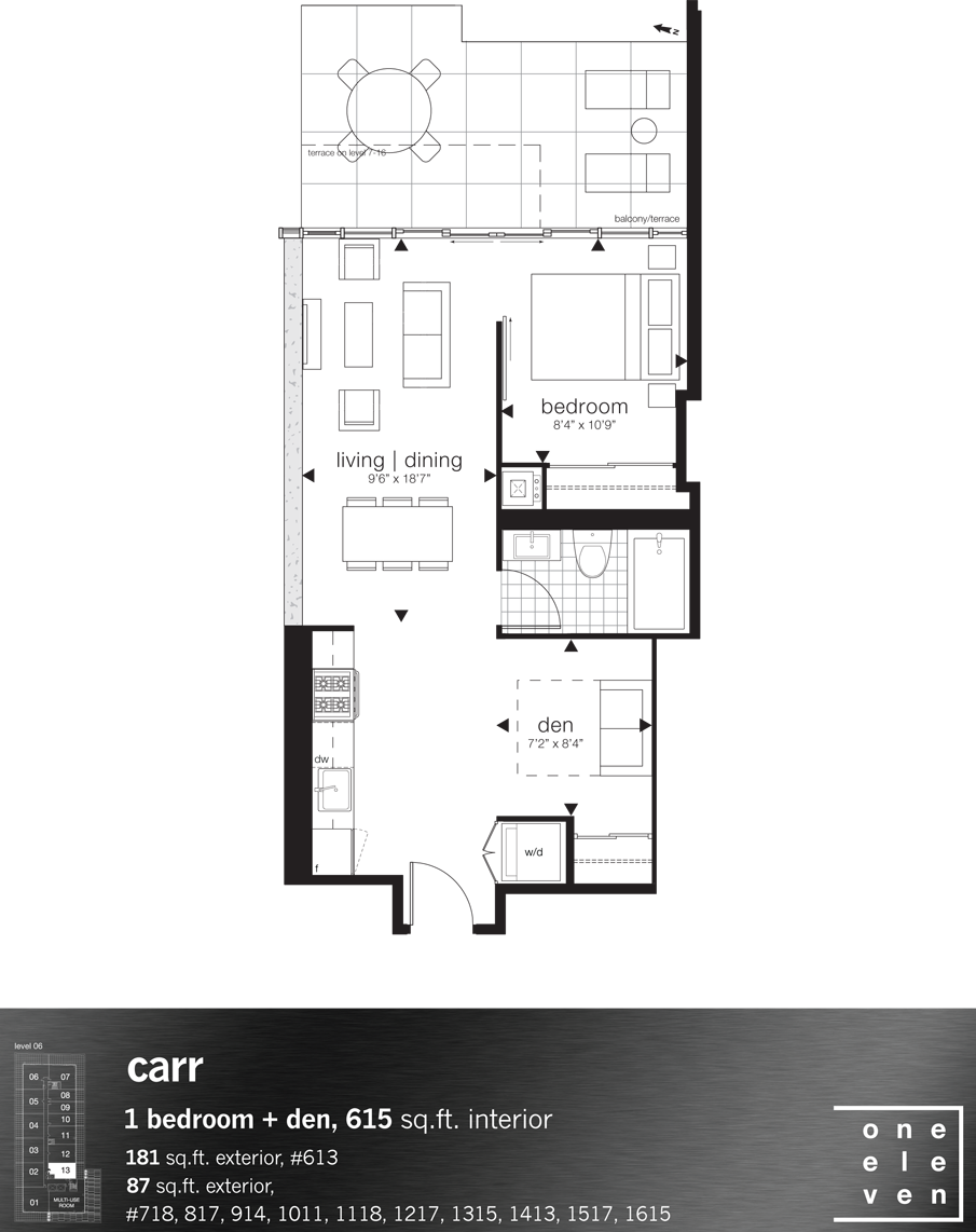 111 BATHURST - FLOORPLAN ONE BED 615 SQ FT - CONTACT YOSSI KAPLAN