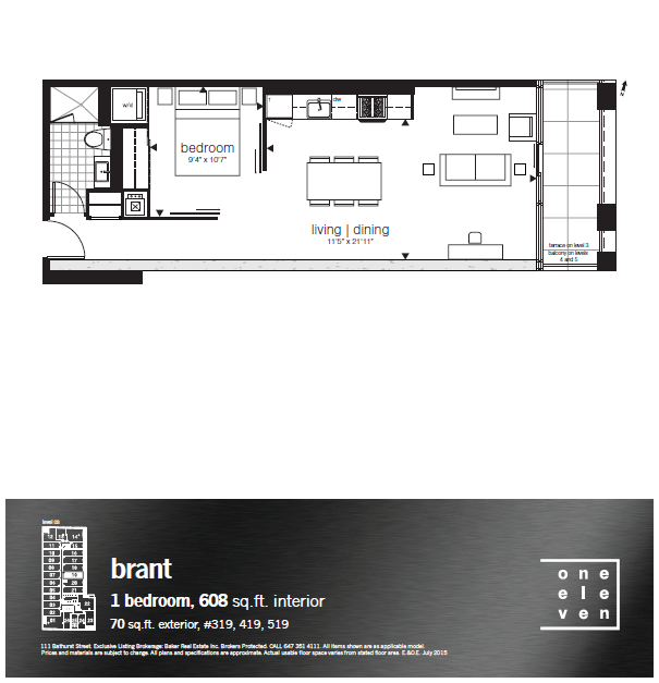 111 BATHURST - FLOORPLANS ONE BEDROOM 608 SQ FT - CONTACT YOSSI KAPLAN