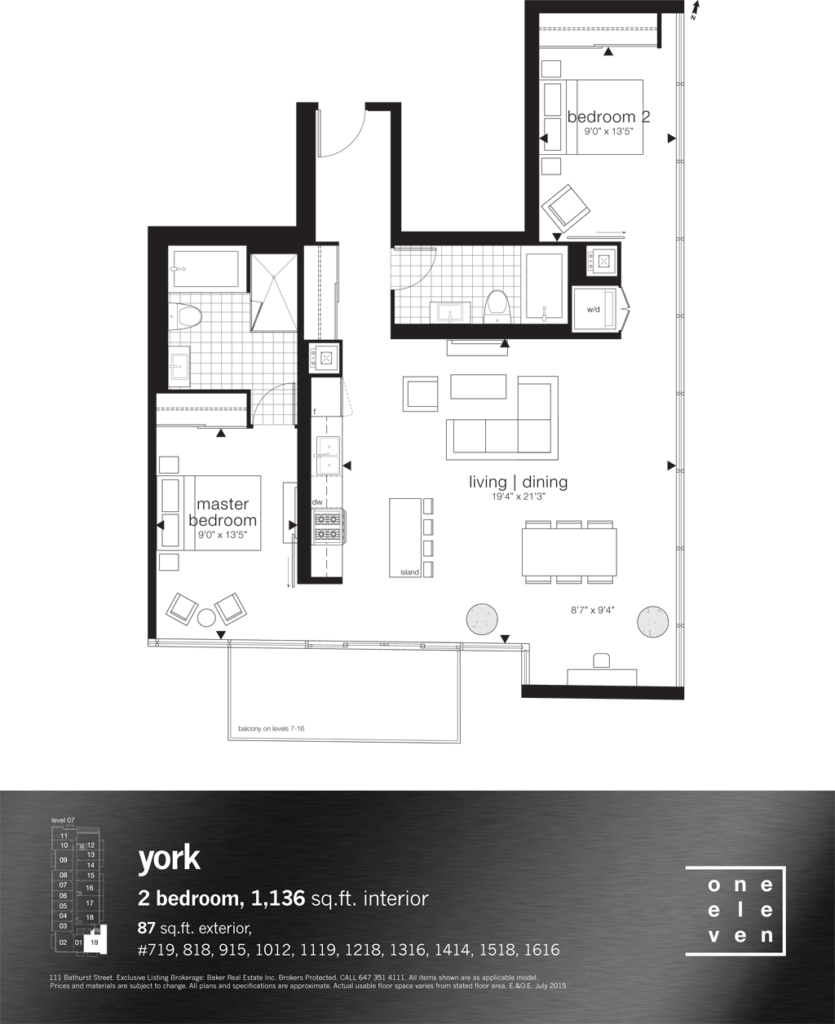 111 BATHURST - FLOORPLANS TWO BEDROOM 1,136 SQ FT - CONTACT YOSSI KAPLAN