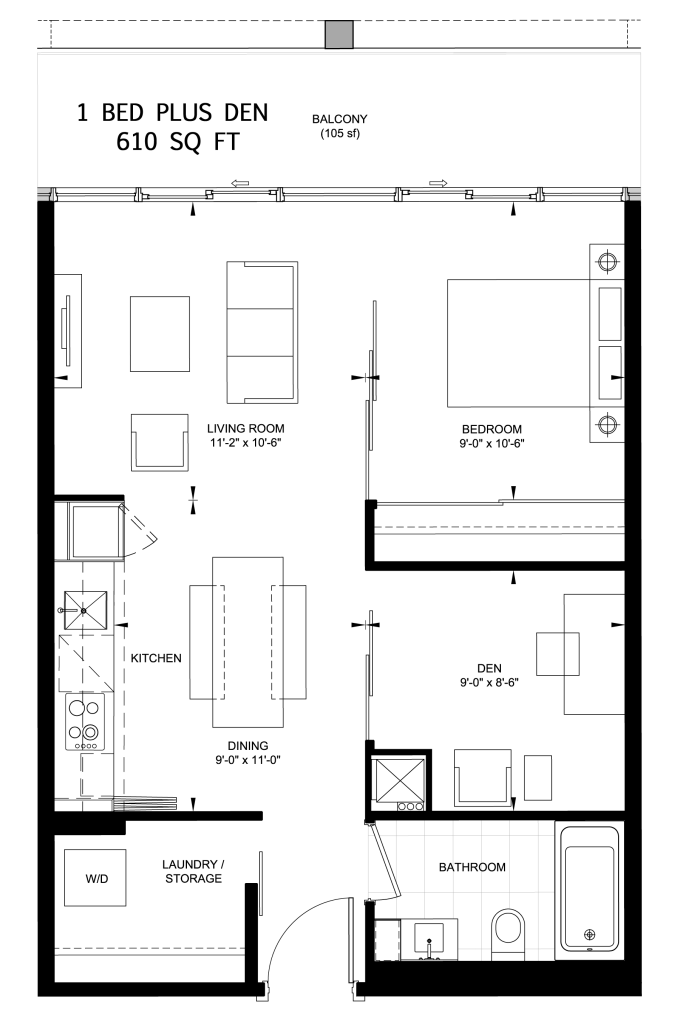 117 PETER - FLOORPLANS ONE PLUS DEN 610 SQ FT - CONTACT YOSSI KAPLAN