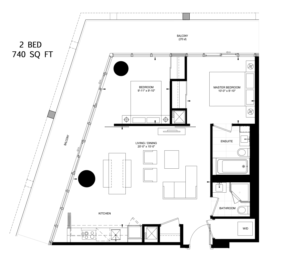 117 PETER - FLOORPLANS TWO BEDROOM 740 SQ FT - CONTACT YOSSI KAPLAN