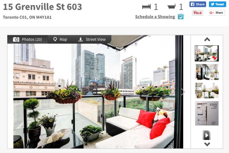 15 Grenville Condos - One Bed Corner Unit for Sale