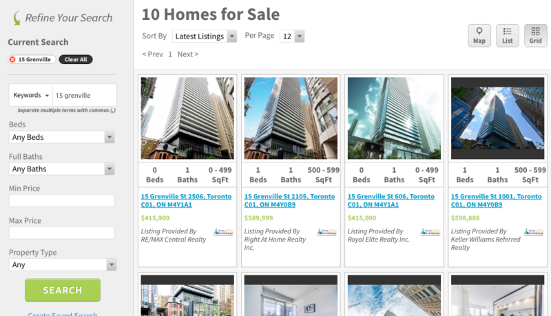 15 Grenville Condos - Saved Map Search