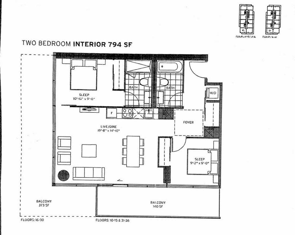155 Redpath Two Bedroom Corner 794 sq ft