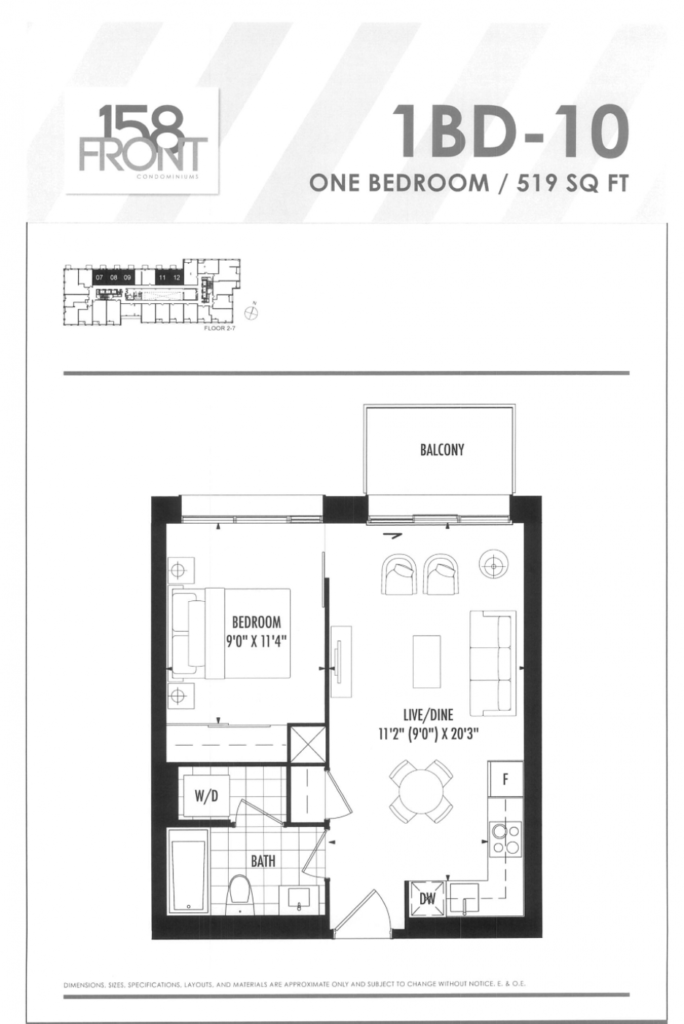 158 FRONT - FLOORPLAN ONE BED 519 SQ FT - CONTACT YOSSI KAPLAN
