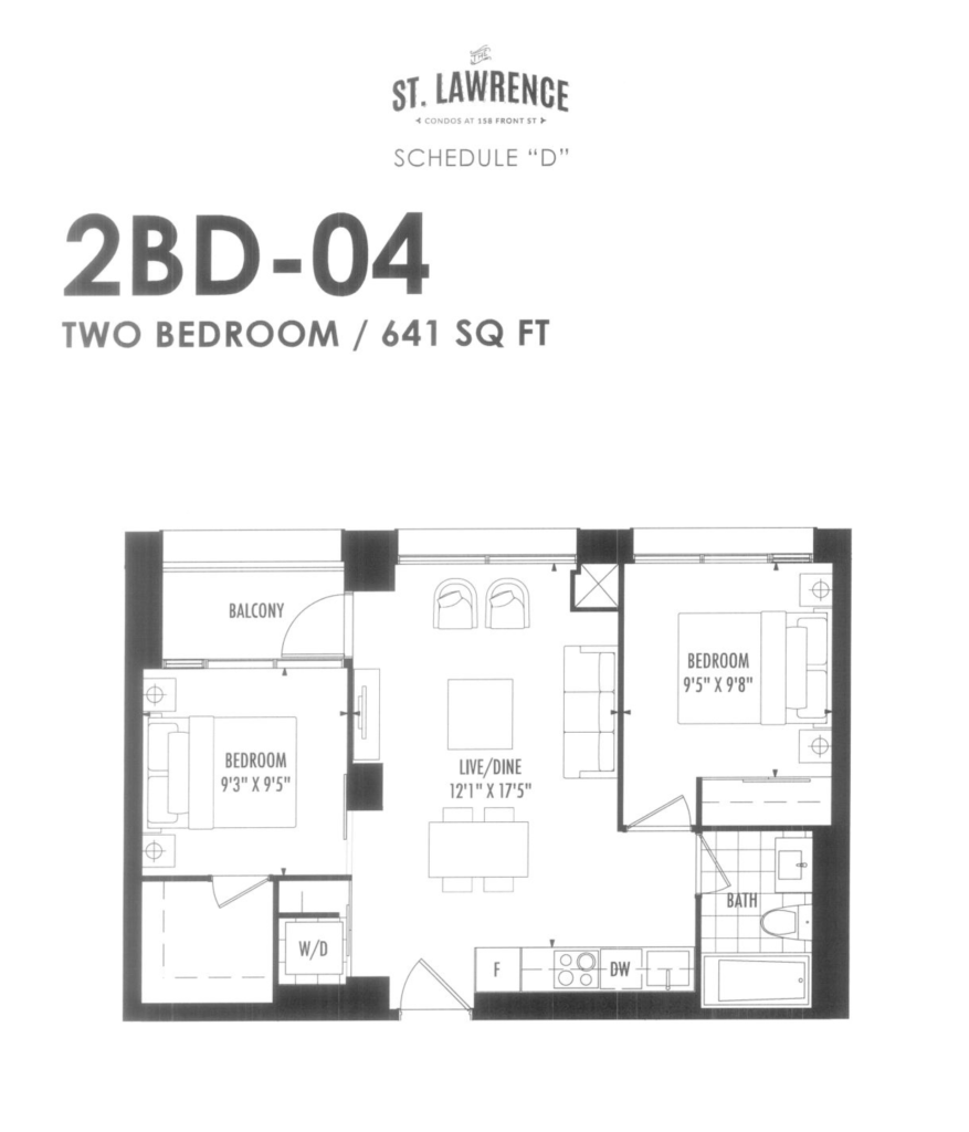 158 FRONT - FLOORPLAN TWO BED 641 SQ FT