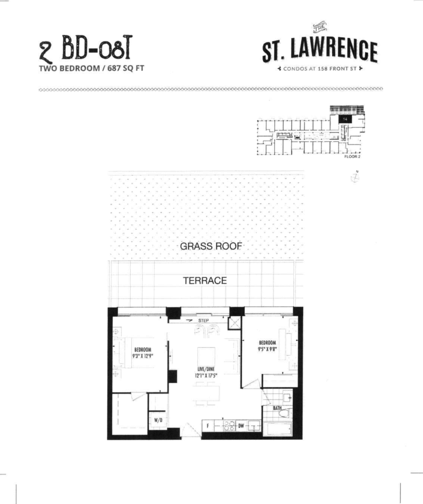 158 FRONT - FLOORPLAN TWO BED 687 SQ FT - LARGE TERRACE