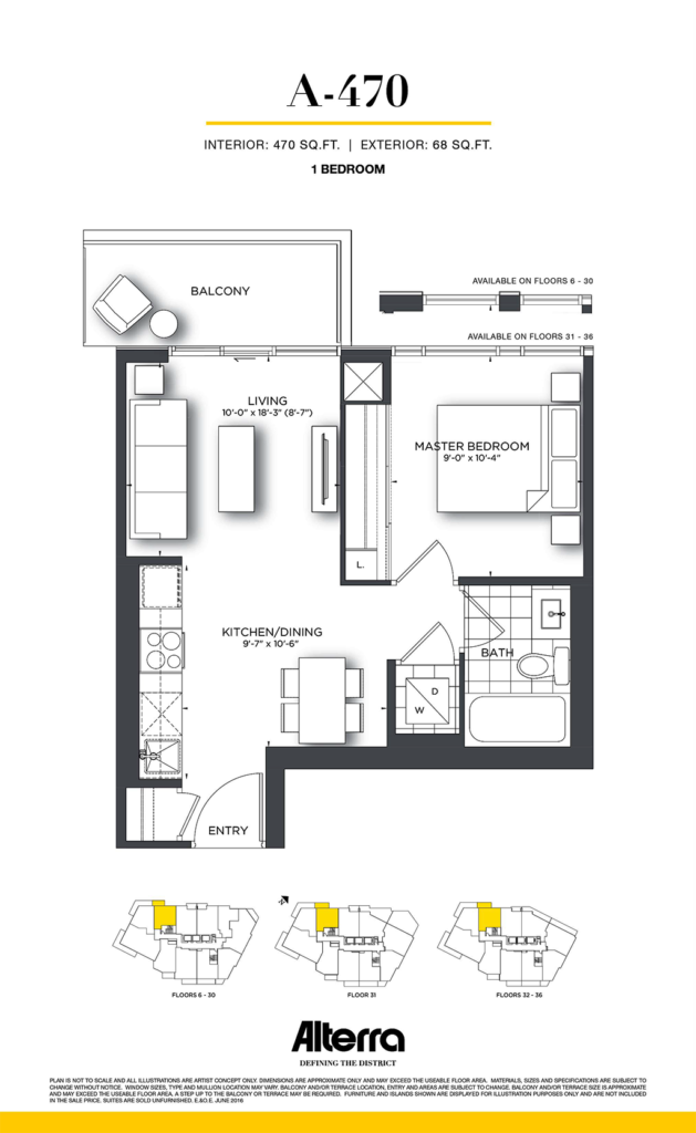 159SW CONDOS - FLOORPLAN ONE BED 470 SQ FT