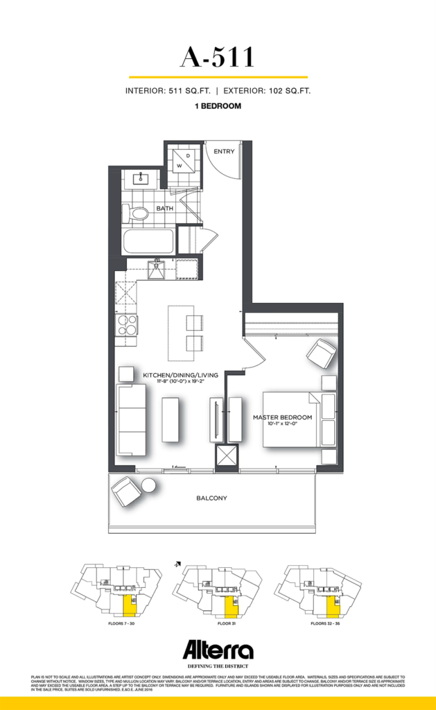 159SW CONDOS - FLOORPLAN ONE BED 511 SQ FT