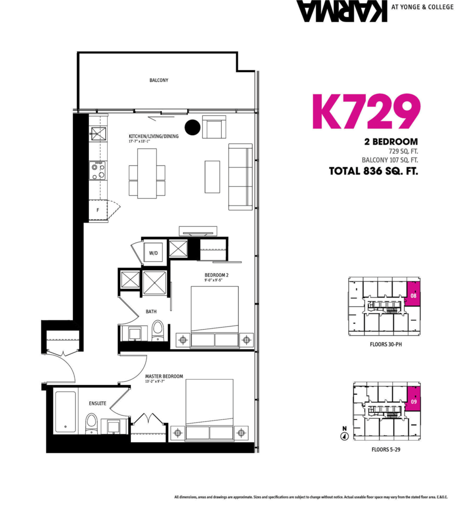 15 GRENVILLE ST - FLOORPLAN TWO BEDROOM 729 SQ FT - CONTACT YOSSI KAPLAN