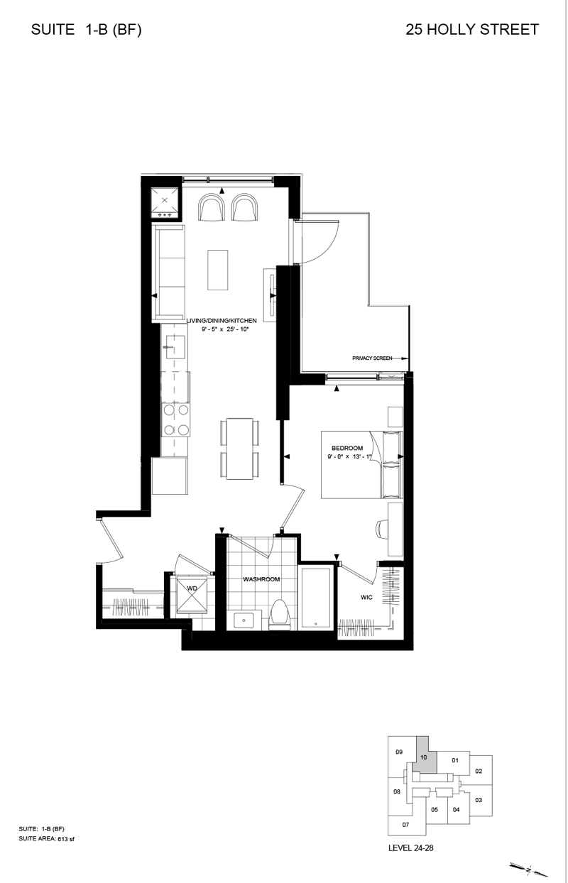 25 HOLLY ST - FLOORPLAN ONE BEDROOM 613 SQ FT
