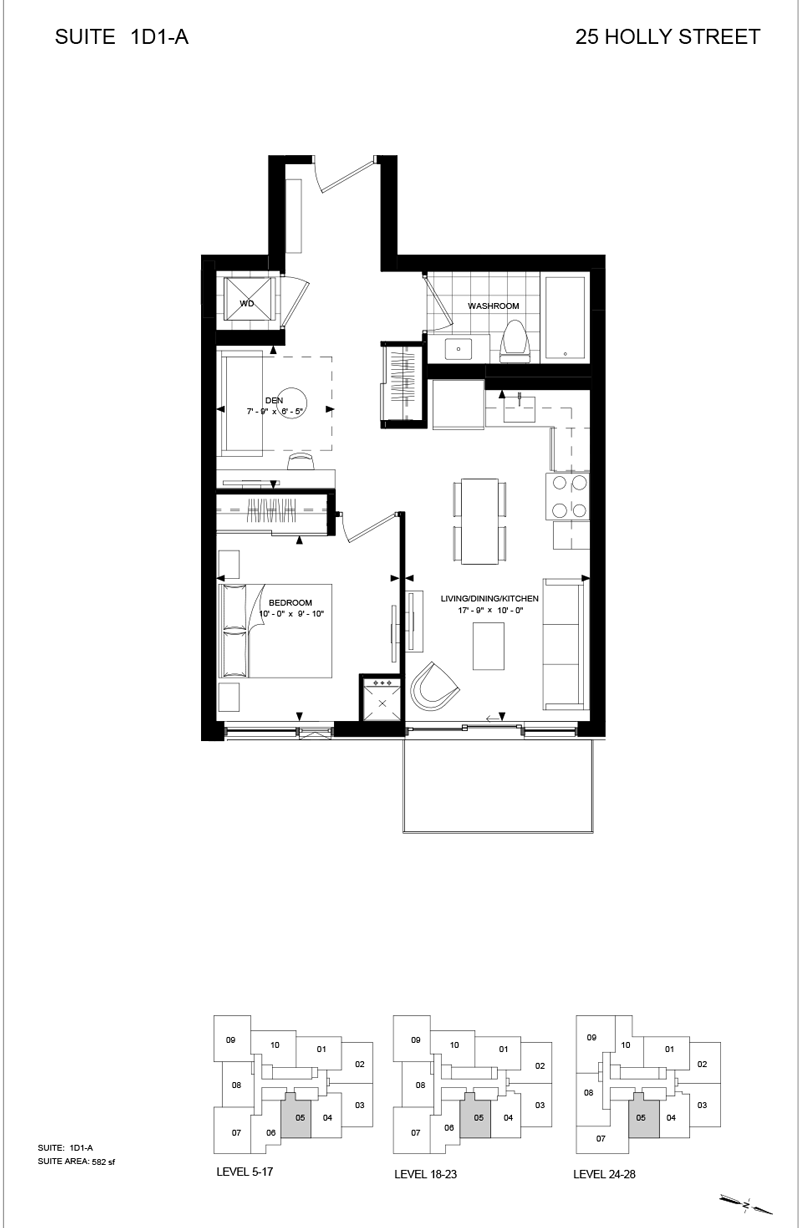 25 HOLLY ST - FLOORPLAN ONE + DEN 582 SQ FT