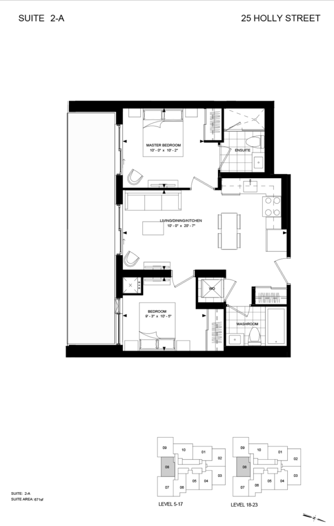 25 HOLLY ST - FLOORPLAN TWO BEDROOM 671 SQ FT