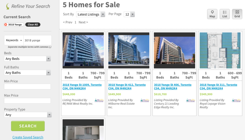 3018 Yonge St Listings - Saved Map Search