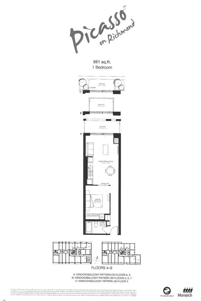 318 RICHMOND - FLOORPLAN ONE BED 561 SQ FT - CONTACT YOSSI KAPLAN