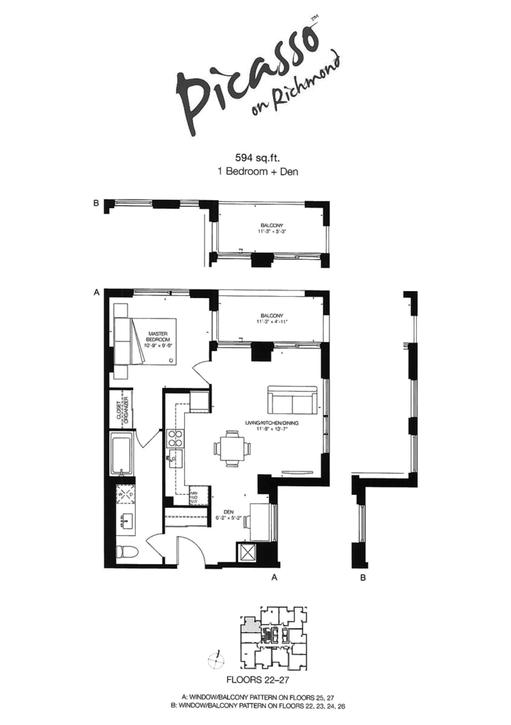 318 RICHMOND - FLOORPLAN ONE BED 594 SQ FT - CONTACT YOSSI KAPLAN