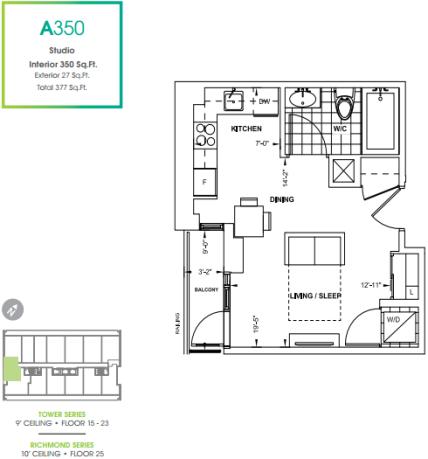 330 Richmond Condos 350 floorplan