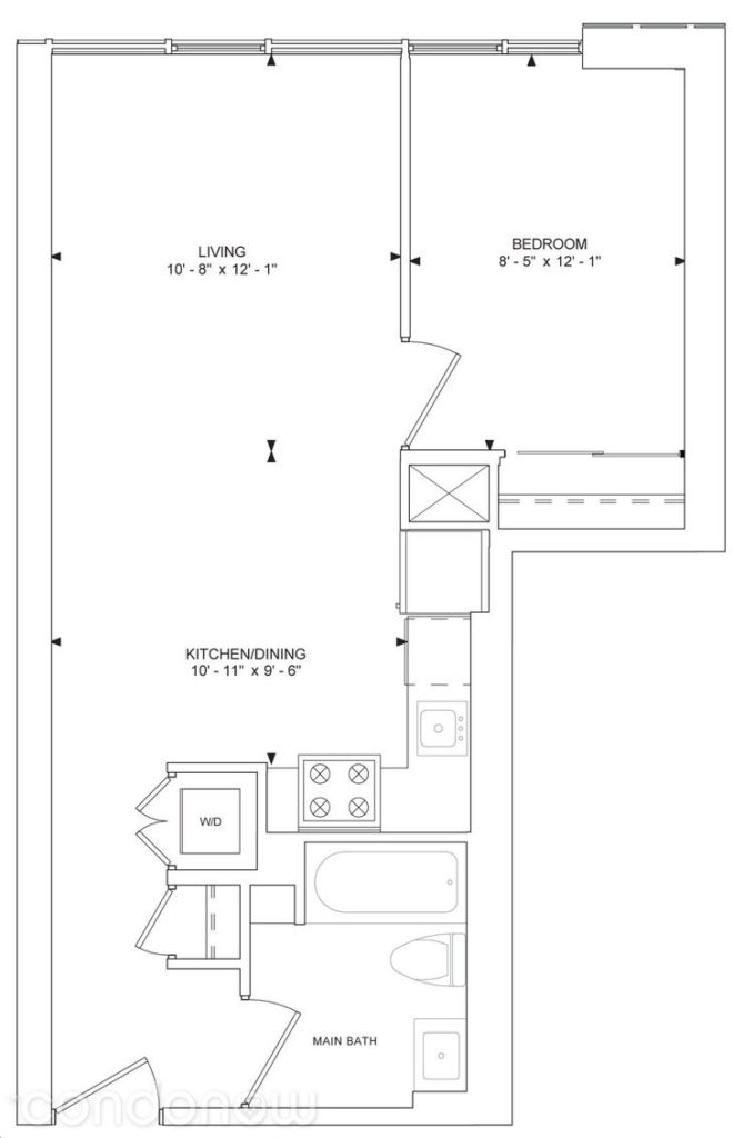 357 King West Condos - Floorplan One Bed 569 sq ft