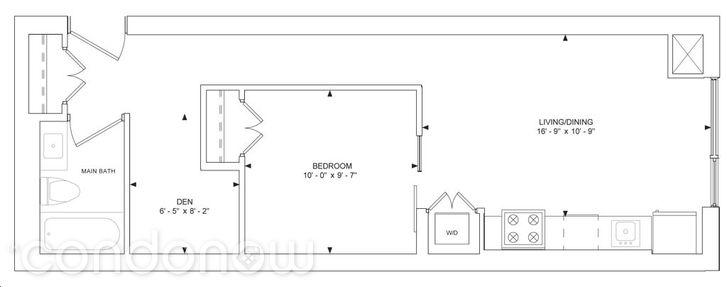 357 King West Condos - Floorplan One + Den 583 sq ft