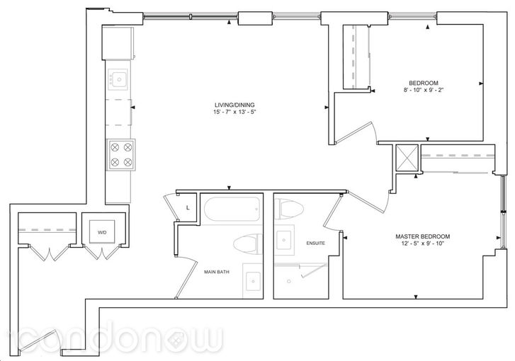 357 King West Condos - Floorplan Two Bedroom 818 sq ft