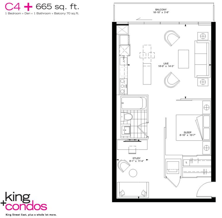 39 SHERBOURNE - FLOORPLAN ONE BED 665 SQ FT - CONTACT YOSSI KAPLAN