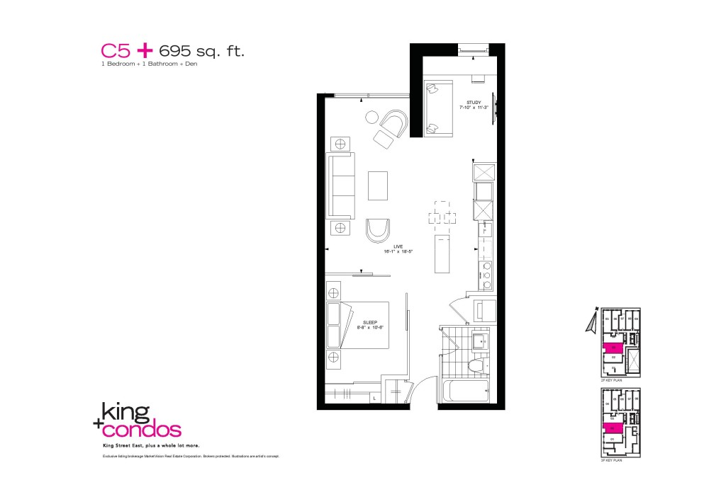 39 SHERBOURNE ST - ONE BED PLUS DEN FLOORPLAN 695 SQ FT - CONTACT YOSSI KAPLAN