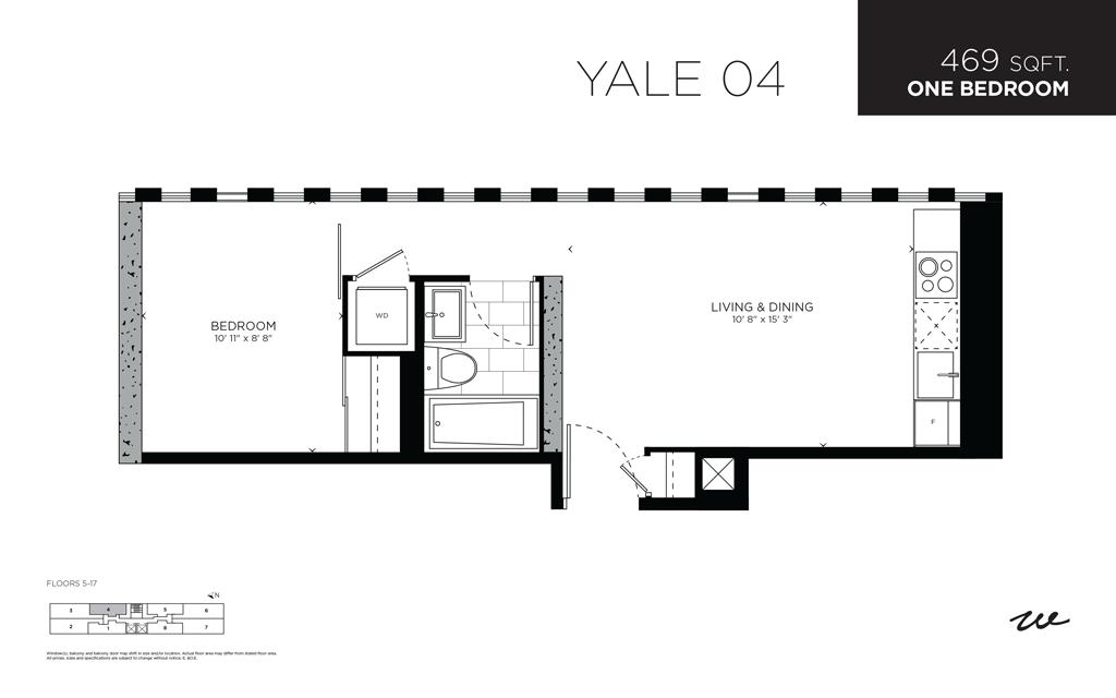 422 WELLINGTON - FLOORPLAN ONE BED 469 SQ FT - CONTACT YOSSI KAPLAN