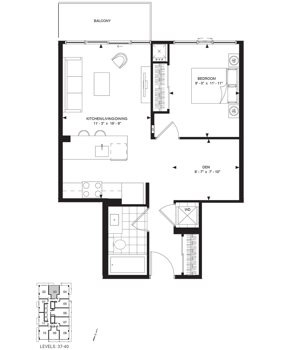 50 WELLESLEY - FLOORPLAN ONE BED 610 SQ FT - CONTACT YOSSI KAPLAN