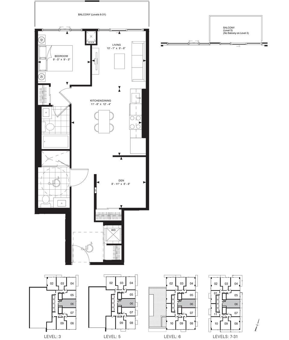 50 WELLESLEY - FLOORPLAN ONE BED PLUS DEN 743 SQ FT - CONTACT YOSSI KAPLAN