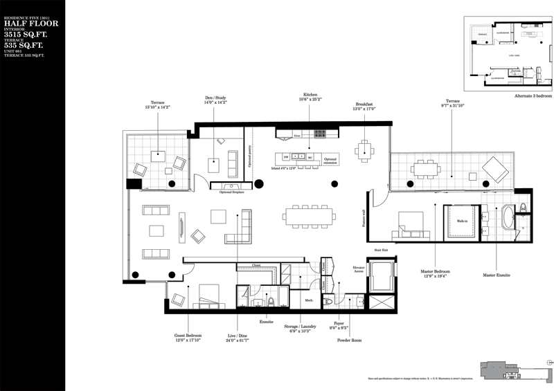 500 WELLINGTON - TWO BED FLOORPLAN 3515 SQ FT - CONTACT YOSSI KAPLAN