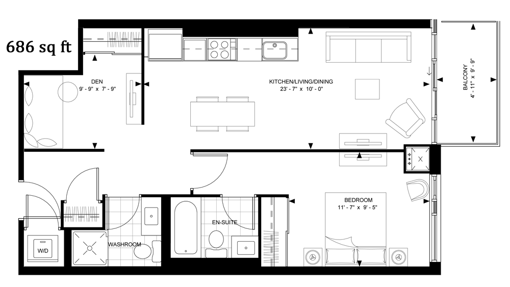 525 ADELAIDE WEST - FLOORPLAN ONE BED 686 SQ FT - CONTACT YOSSI KAPLAN