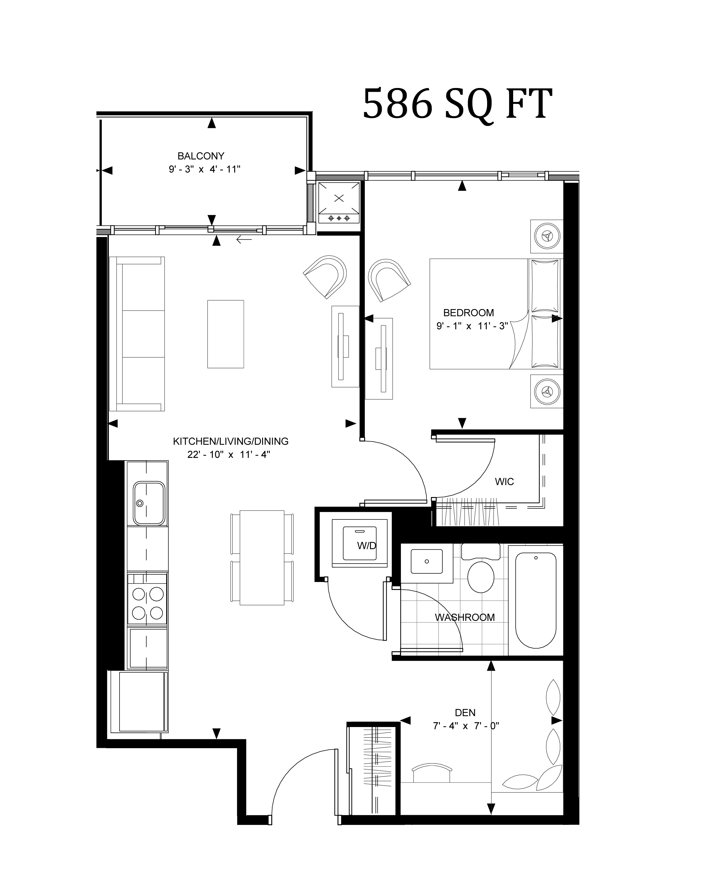 525 ADELAIDE WEST - FLOORPLAN ONE BED+DEN 586 SQ FT - CONTACT YOSSI KAPLAN