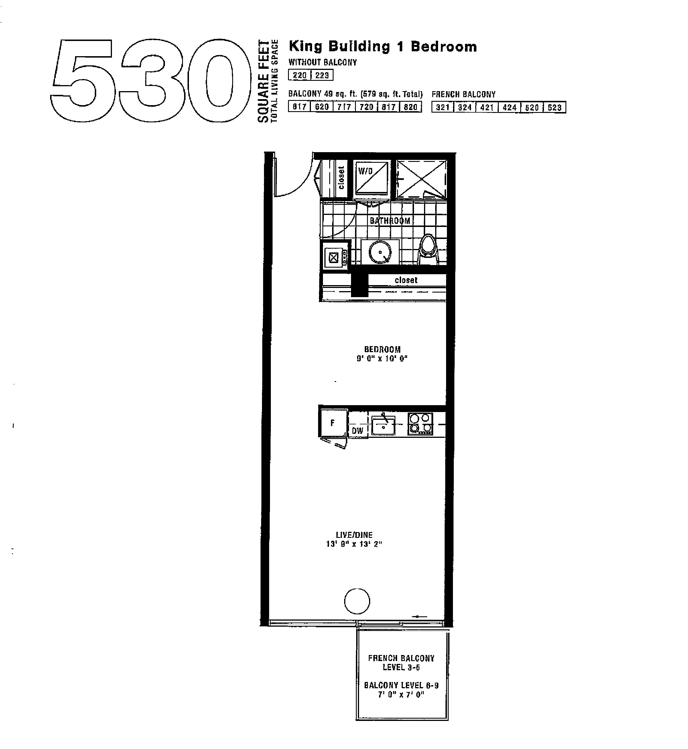 530 SQ FT - UNIT 519 FLOORPLAN