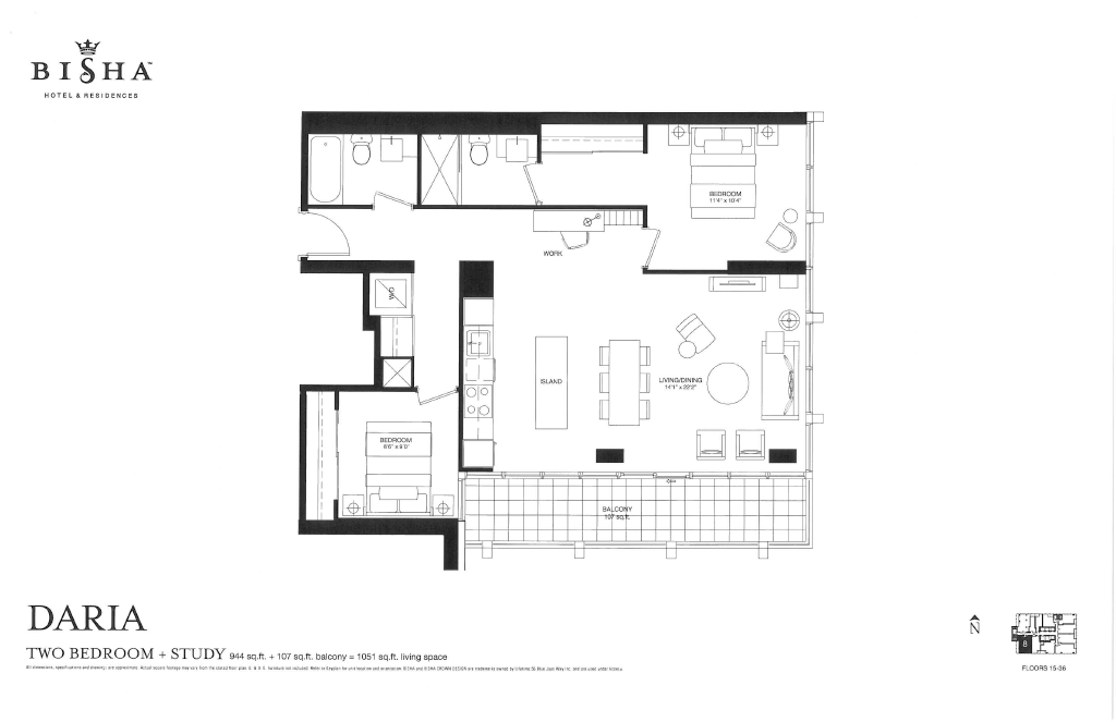 56 BLUE JAYS WAY - FLOORPLAN TWO BEDROOM 944 SQ FT - CONTACT YOSSI KAPLAN