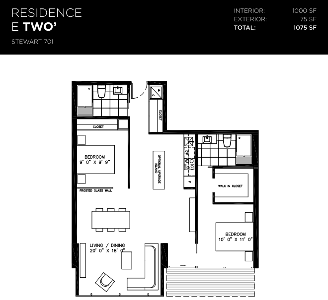 629 KING WEST - TWO BED FOR SALE - FLOORPLAN 1000 SQ FT
