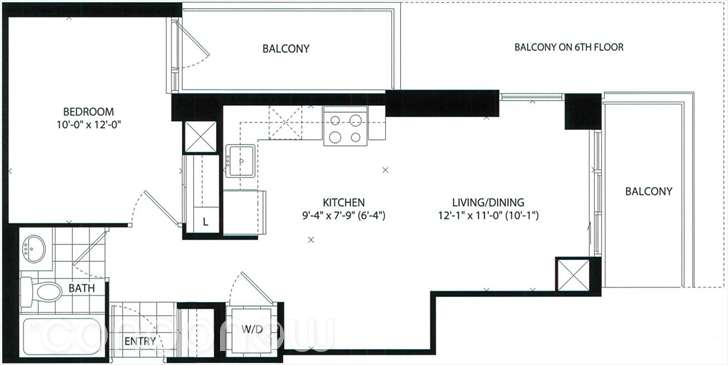 70 CARLTON - FLOORPLAN ONE BED 555 SQ FT - CONTACT YOSSI KAPLAN