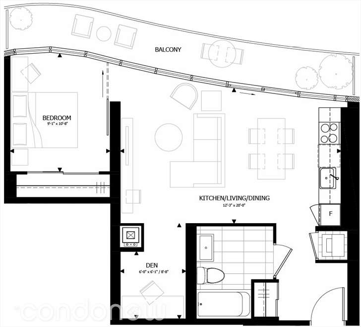 70 CARLTON - FLOORPLAN ONE PLUS DEN 612 SQ FT - CONTACT YOSSI KAPLAN