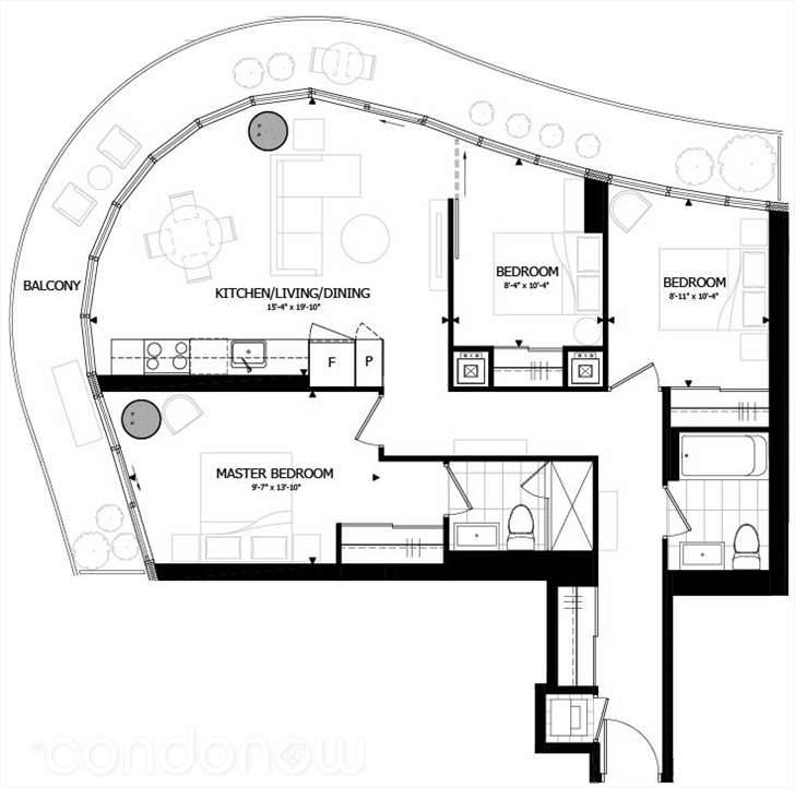 70 CARLTON - FLOORPLAN THREE BEDROOM 957 SQ FT - CONTACT YOSSI KAPLAN