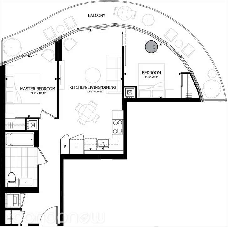 70 CARLTON - FLOORPLAN TWO BEDROOM 689 SQ FT - CONTACT YOSSI KAPLAN