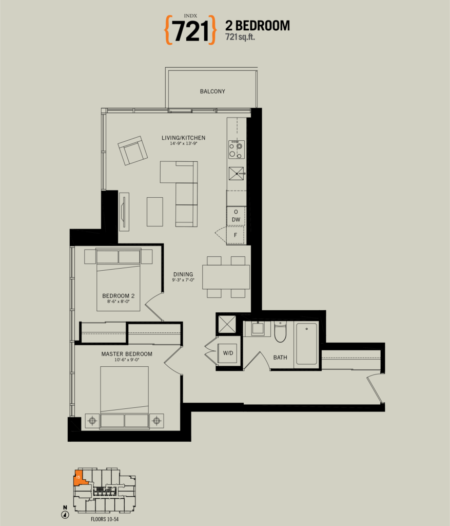 70 TEMPERANCE ST - FLOORPLAN TWO BEDROOM 721 SQ FT - CONTACT YOSSI KAPLAN