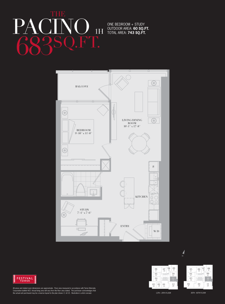80 JOHN - ONE BEDROOM FLOORPLAN 683 SQ FT
