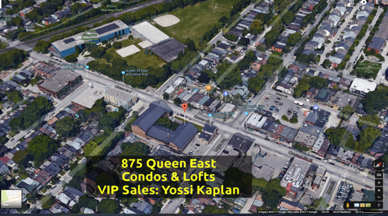 875 Queen St East Condos for Sale - Aerial View of Church - Call Yossi Kaplan VIP Agent