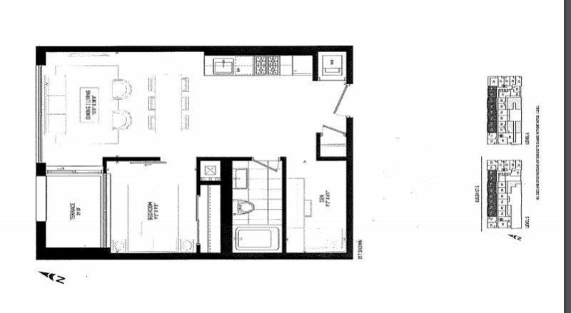 875 Queen St East Floorplans - One Bed 597 - Contact Yossi Kaplan