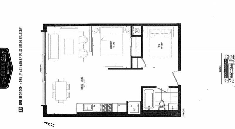 875 Queen St East Floorplans - One Bed 641 - Contact Yossi Kaplan