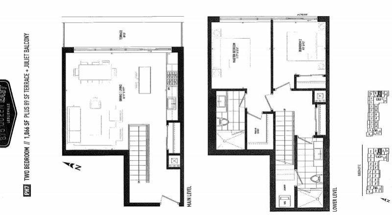 875 Queen St East Floorplans - Two Bed 1066 - Contact Yossi Kaplan