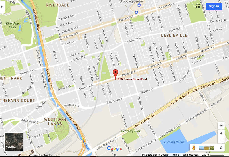 875 Queen St East - Map of Condo Location
