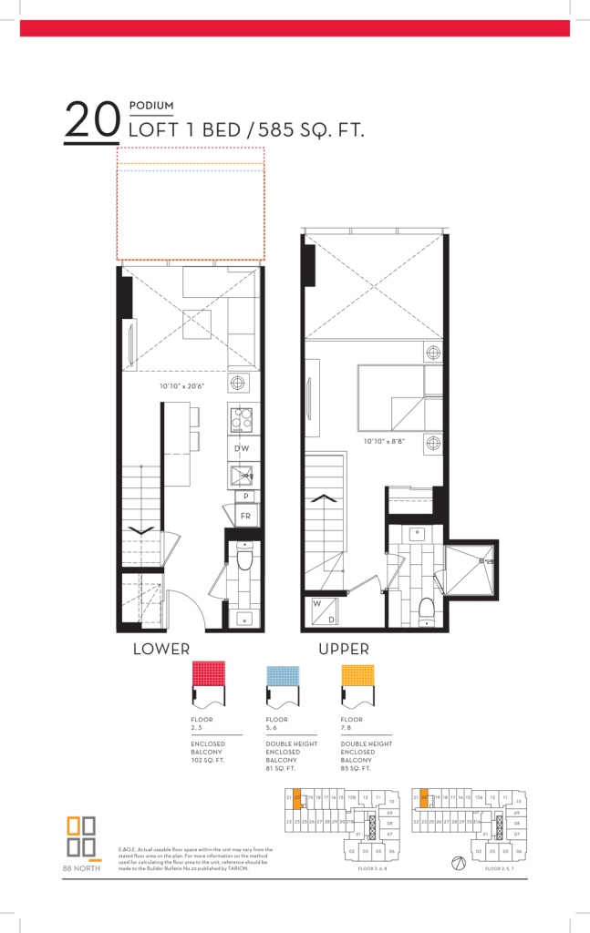 88 QUEEN - FLOORPLANS ONE BED LOFT 586 SQ FT - CONTACT YOSSI KAPLAN