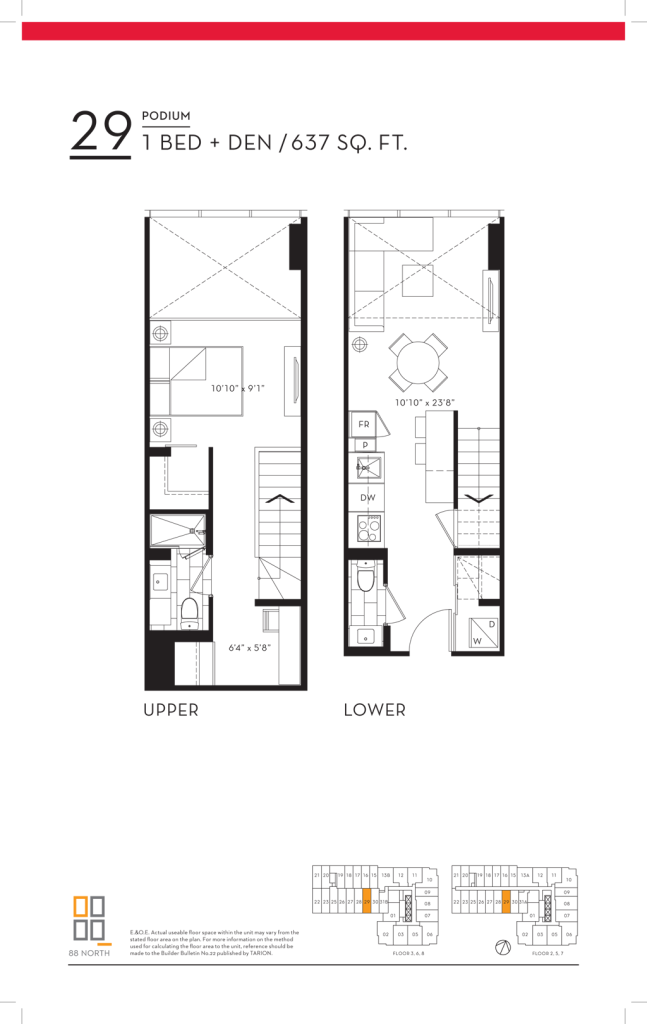 88 QUEEN - FLOORPLANS ONE PLUS DEN LOFT 637 SQ FT - CONTACT YOSSI KAPLAN