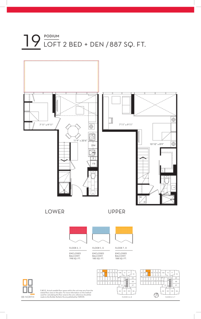88 QUEEN - FLOORPLANS TWO BED LOFT 887 SQ FT - CONTACT YOSSI KAPLAN