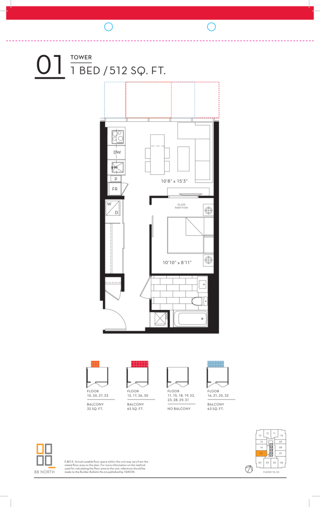 88 QUEEN - FLOORPLANS ONE BED 512 SQ FT - CONTACT YOSSI KAPLAN